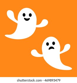 Funny Flying Ghost. Smiling And Sad Face. Happy Halloween. Greeting Card.  Cute