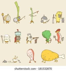 Funny food character set