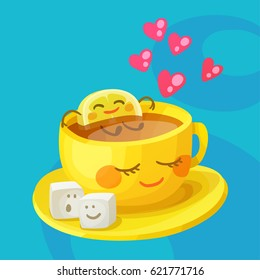 Funny food characters a cup of tea, lemon slice and sugar cubes in love. Cheerful emoji cartoon vector illustration