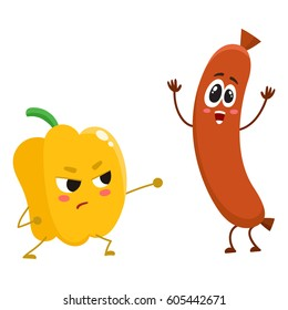 Funny food characters, pepper versus sausage, healthy lifestyle concept, cartoon vector illustration isolated on white background. Bell pepper fighting sausage characters, mascots, food infographics