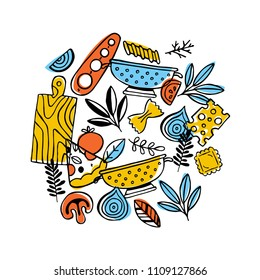 Funny food frame composition. Pizza and pasta. Vector illustration