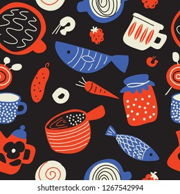 Funny food seamless pattern in sketch style. Scandinavian food and kitchen ware. Made in vector