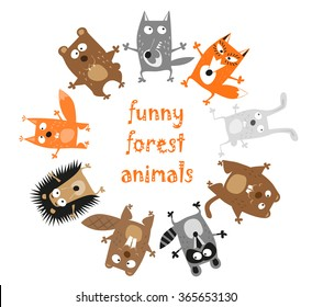 Funny forest animals - bear, wolf, fox, rabbit, hedgehog, groundhog, raccoon, beaver and squirrel hand drawn in baby style isolated on white background. Vector illustration