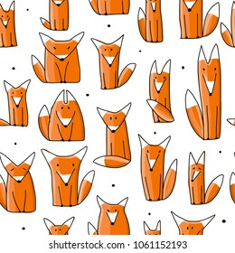 Funny foxes, seamless pattern for your design