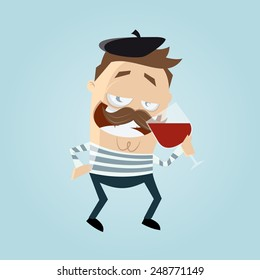 funny french cartoon man is drinking wine