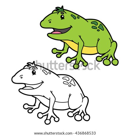 Funny Frog Coloring Page Vector Illustration Stock Vector Royalty