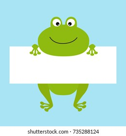 Funny frog hanging on paper board template. Big eyes. Kawaii animal body. Cute cartoon character. Baby card. Flat design style. Blue background Isolated. Vector illustration