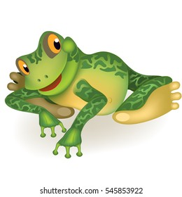 Funny frog. Toad invites you to play. Cute cartoon ?haracter isolated on white background.