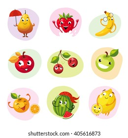 Funny Fruit Caracters Set Of Colorful Flat Vector Icons In Childish Cartoon Style Isolated On Different Backgrounds