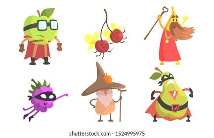 Funny Fruit Cartoon Characters Wearing Wizard and Superhero Costume Set, Apple, Cherry, Banana, Blackberry, Pear Vector Illustration