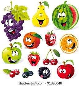 funny fruit cartoon isolated on white background