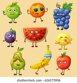 Funny fruit characters isolated on white background. Cheerful food emoji. Cartoon vector illustration: green pear, red apple, yellow banana, purple plum, orange, blue grape, watermelon, lemon, pear