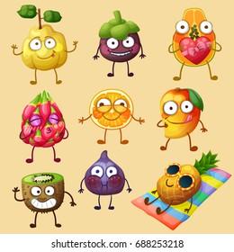 Funny fruit characters isolated on white background. Cheerful food emoji. Cartoon vector illustration: quince, mangosteen, papaya, orange, mango, kiwi, fig, pineapple, pitaya