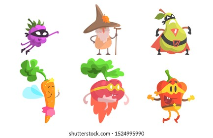 Funny Fruit Characters Wearing Wizard and Superhero Costume Set, Blackberry, Pear, Carrot, Radish, Pepper Vector Illustration