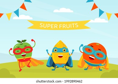 Funny Fruit Hero in Mask and Cloak Rushing to Rescue Vector Illustration