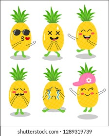 funny  fruit vector set of pineapple cartoon character ,fresh fruit,emoji icon vector.