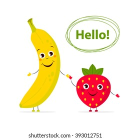 Funny fruits with eyes in flat style. Strawberry and banana. Colorful Vector Clip art. Isolated illustration on white