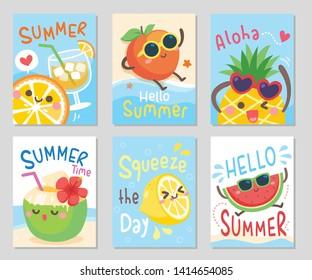 Funny fruits hello summer. Fresh time on the beach, sea sand sun. Meet lemon, pineapple, watermelon, peach, orange and coconut.Set of rectangle gift tag, card, postcard. Vector illustration.