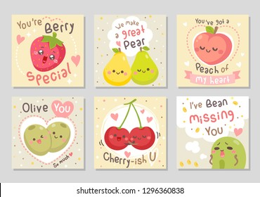 Funny fruits love quotes. Here are fruits full of love! Sayings You're berry special, great pair, peach of my heart, olive you, and more. Set of square gift tag, card, badge. Vector illustration.