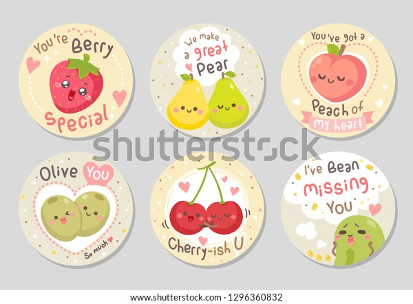 Funny Fruits Love Quotes Here Fruits Stock Vector Royalty
