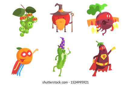 Funny Fruits and Vegetables Characters Wearing Wizard and Superhero Costume Set, Grape, Apple, Beetroot, Orange, Cucumber, Eggplant Vector Illustration
