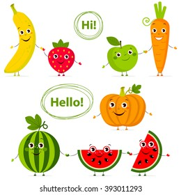Funny fruits and vegetables with eyes in flat style. Carrot, strawberry,  pumpkin, watermelon, banana, apple. Colorful Vector Clip art. Isolated illustration on white