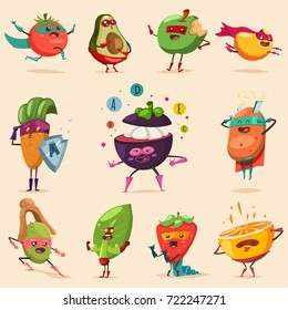 Funny fruits and vegetables in superhero costume. Vector concept illustration for a healthy eating and lifestyle. Cute food cartoon flat character set.
