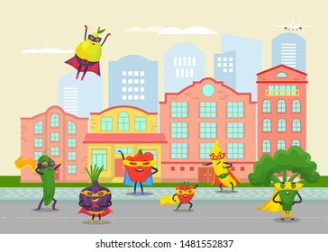 Funny fruits and vegetables superheros in cartoon city vector illustration. For vegan social networks and healthy lifestyle. Funny vegetables and fruits heroes on city daily activities.