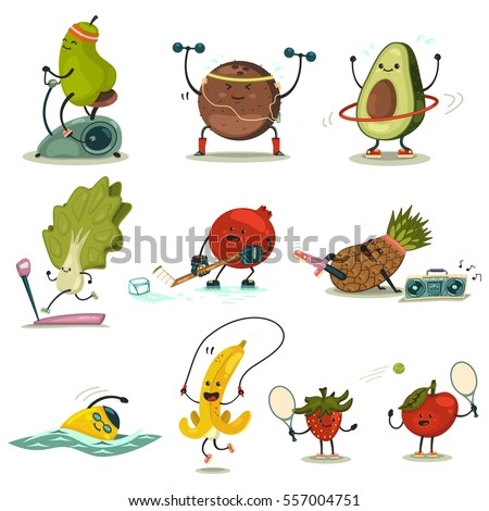 Funny Fruits Vegetables Take Exercise Eating Stock Vector Royalty