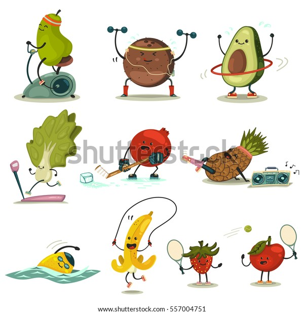 Funny Fruits Vegetables Take Exercise Eating Stock Vector Royalty Free 557004751