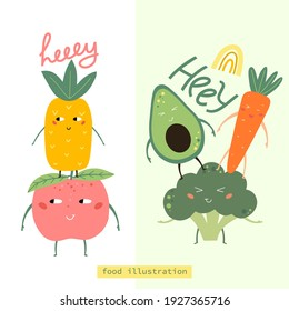 Funny Fruits and vegetables.   Vector elements for creating invitations, posters, greeting cards and print t-shirt. Vector illustration.