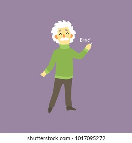 Funny full-length portrait of Albert Einstein. Famous male theoretical physicists in the world. E mc2. Cartoon man with gray hair and mustache. Flat vector design