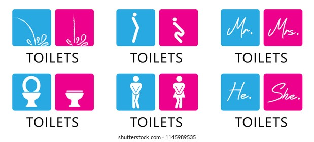 Funny fun toilet toilets WC icon restroom bathroom footprints icons clipart signs vector eps imprint print urinal toilet paper rooster people gender men man woman women mr mrs he she boy girl pissing