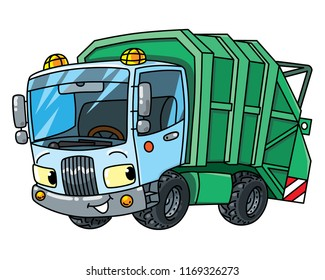 Funny garbage truck car with eyes. Municipal machinery