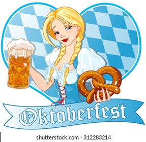 Funny German girl drinking beer