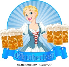 Funny German girl serving beer on Oktoberfest label