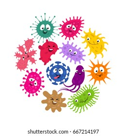 Funny germs and virus kids vector background. Illustration of characters group bacteria and microbe organism infection
