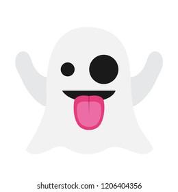 Funny ghost emoji vector