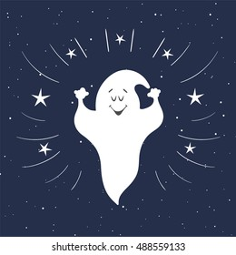 Funny ghost flying in the night sky. Halloween card. Hand Drawn design element.