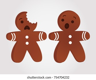 Funny gingerbread men bitten. Christmas vector.