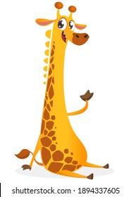 Funny giraffe cartoon design. Vector illustration isolated