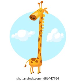 Funny giraffe cartoon. Vector illustration isolated on sky background with clouds