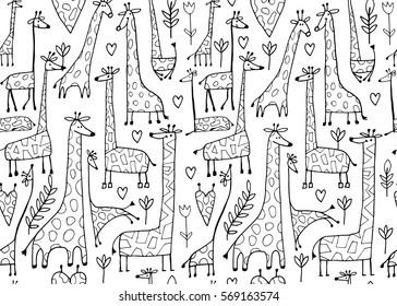 Funny giraffes sketch, seamless pattern your design