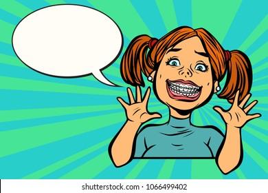 Funny girl with braces. dental medicine and health, dentistry. Comic cartoon pop art retro vector vintage illustration