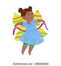 Funny Girl in Butterfly Costume Dancing and Moving to Music Vector Illustration