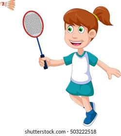 funny girl cartoon playing badminton
