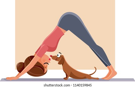 Funny Girl Exercising Next to Her Dog on Yoga Mat. Woman doing Pilates next to her pet friend stretching together