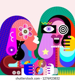 Funny girl and her serious friend vector illustration. Contemporary fine art painting, portrait of two women.