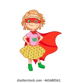 Funny girl in Superhero costume stands with hands on waist in a red mask and developing the wind cloak. Vector cartoon sweet girl in a skirt with polka dots and a pink T-shirt with a bear.