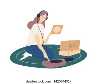 Funny girl wearing headphones putting vinyl records into turntable and listening to music. Cute young woman spending time at home and enjoying her hobby. Flat cartoon colorful vector illustration.